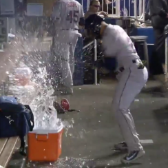 Carlos Gomez video: Rays OF hits water cooler in dugout