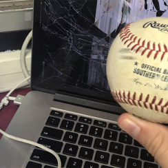 Jacksonville Jumbo Shrimp, roger hoover, announcer laptop foul ball