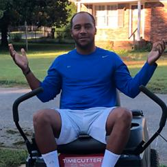 Harold Varner III mow parents lawn greenbrier