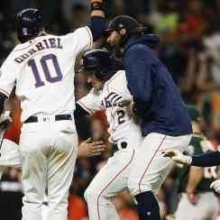 astros, alex bregman, astros walk-off-win, houston astros, houston, a's, athletics, astros weird win