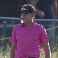 Ian Poulter skips two hazards on 18