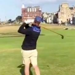 Brandon Stone takes a swing while playing the Old Course in St. Andrews.