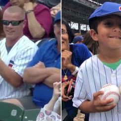 Cubs fan steals ball, kid gets Javier Baez autograph (video)