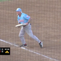 Baseball manager ejected gives base to kid in stands (video)