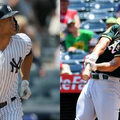 Yankees' Giancarlo Stanton and Athletics' Matt Olson