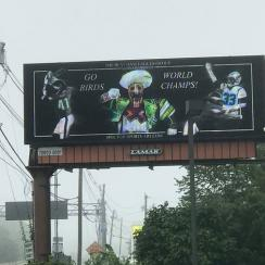 Eagles billboard outside Gillette Stadium before Eagles game