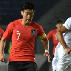 Son Heung-min scores for South Korea in the Asian Games