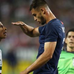 Matt Miazga taunts Diego Lainez in USA-Mexico
