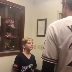 Christian Yelich hits for cycle, trades autographed bat to fan