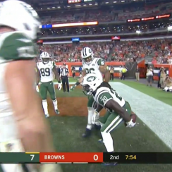 Isaiah Crowell touchdown celebration, browns, jets, Isaiah Crowell, thursday night football