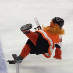 Philadelphia Flyers mascot Gritty debuts, slips on ice (video)