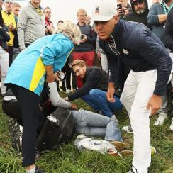 woman hit by brooks koepka shot ryder cup