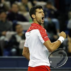 Novak Djokovic won at the 2018 tennis masters in Shanghai, China on 14 October 2018