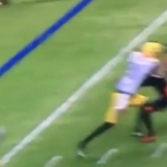 CFL: TJ Lee gets run over by Eskimos player (video)