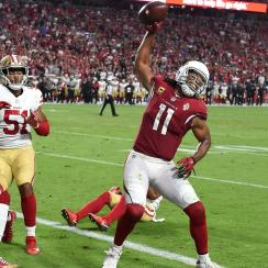Larry Fitzgerald spikes ball for first time