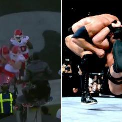 Travis Kelce does Stone Cold Stunner TD celebration (video)