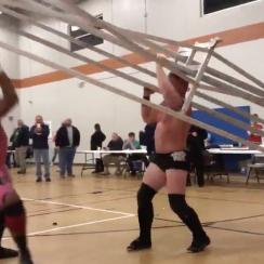 Wrestler Shane Mercer uses bleachers as weapon (video)