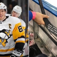 Sidney Crosby autographs stick for heckling fan (photo)