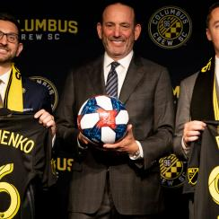 Tim Bezbatchenko and Caleb Porter are presented as president and head coach of the Columbus Crew