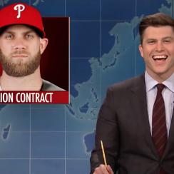 Bryce Harper joke: Colin Jost slams Philly, to appear on WWE Raw
