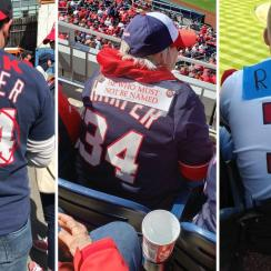 Nationals fans wear altered Bryce Harper jerseys on Opening Day