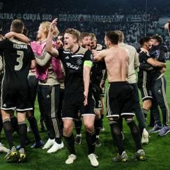 Ajax celebrates its win over Juventus in Champions League