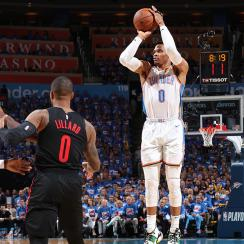 Thunder's Russell Westbrook vs. Trail Blazers