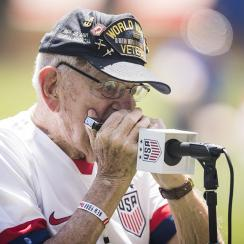 soccer, us women's national team, Pete DuPre, harmonica pete, world war II, wire, national anthem