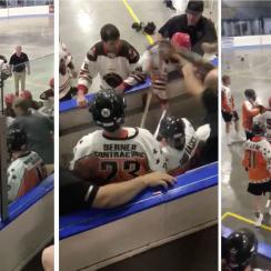 Playoff lacrosse brawl