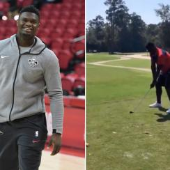 Zion Williamson: Pelicans F breaks golf club (video)