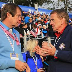 European Tour chief executive George O'Grady talks to PGA Tour commissioner Tim Finchem at the 2014 Ryder Cup.