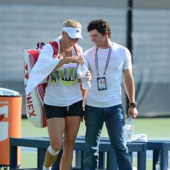 Caroline Wozniacki and Rory McIlroy at the 2012 US Open at USTA Billie Jean King National Tennis Center on Aug. 28, 2012 in New York City.