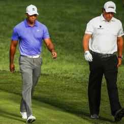 Tiger Woods and Phil Mickelson play the first round of the 2014 PGA Championship.