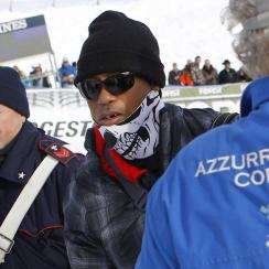 Tiger Woods at the FIS Alpine Skiing World Cup in Cortina d'Ampezzo, Italy.