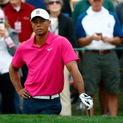 Tiger Woods looks on from the 3rd hole during the first round of the 2014 Waste Management Phoenix Open.