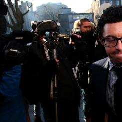 Rory McIlroy arrives at Dublin high court, Ireland, Tuesday Feb. 3, 2015. The four-time major winner initiated the multi-million dollar case against his former management company claiming he was misled into signing a contract with the company.