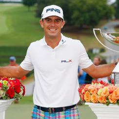 Billy Horschel poses with his FedEx Cup and Tour Championship trophies.