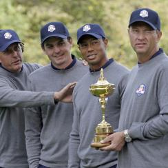 Phil Mickelson, Keegan Bradley, Tiger Woods and captain Davis Love III at the 2012 Ryder Cup at the Medinah Country Club in Medinah, Ill.