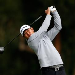 James Hahn tees off on the second hole during the final round of the 2015 Northern Trust Open at Riviera.