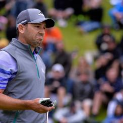 Sergio Garcia bogeyed his final two holes at Riviera on Sunday to finish a stroke outside the playoff.