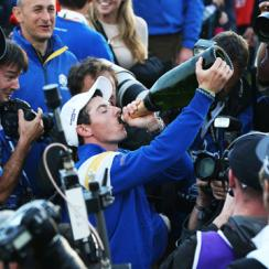 Rory McIlroy celebrates Team Europe winning the 2014 Ryder Cup.