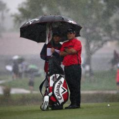 Third-round play at the Honda Classic was suspended on Saturday due to inclement weather.