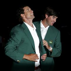 Adam Scott and Bubba Watson at the 2013 Masters green jacket ceremony