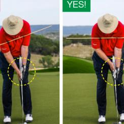 Going left-hand low evens out your shoulders so you can make a smoother, more pendulum-like stroke.