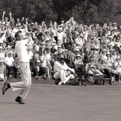 Over an eight-year stretch Palmer won a then record four Masters titles and was twice a runner-up. His last victory was a six-shot romp in 1964.