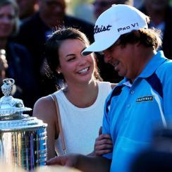 Jason and Amanda Dufner celebrate after the 2013 PGA Championship.