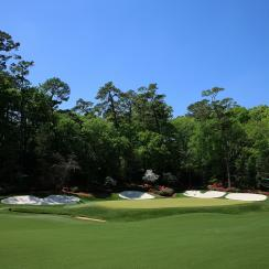 The par-5 13th hole at Augusta National is reachable in two but danger lurks on every shot.