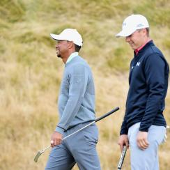 Tiger Woods and Jordan Spieth during a practice round prior to the start of the 115th U.S. Open Championship at Chambers Bay.
