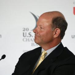 Mike Davis, Executive Director of the USGA, attends a news conference during the U.S. Open golf tournament at Chambers Bay on Wednesday, June 17, 2015 in University Place, Wash. (AP Photo/John