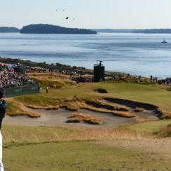 Jordan Spieth watches his tee shot on the 15th hole during the final round of the 115th U.S. Open Championship at Chambers Bay on June 21, 2015.